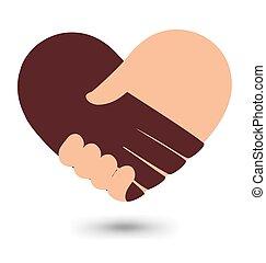 Love Handshake With Heart Shape Vector Design