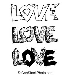 Love handwritten lettering design text