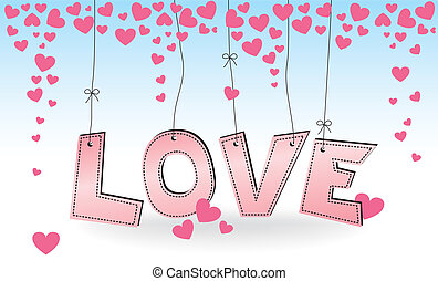 LOVE - hanging pink letters