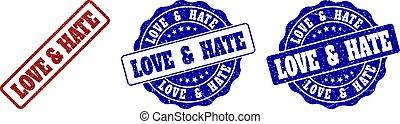 LOVE & HATE Grunge Stamp Seals