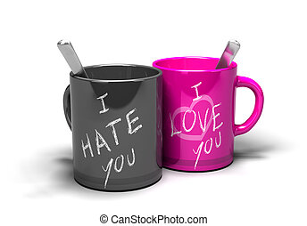 love hate relationship - two mugs where it 's written i love...