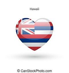 Love Hawaii state symbol. Heart flag icon.