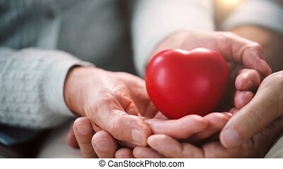 senior couple hands with red heart shape - love, health, old...