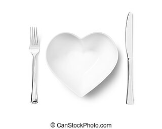 love healthy eating - Stock Image - Shot of a heart shaped...