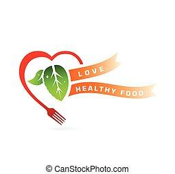 Love healthy food concept