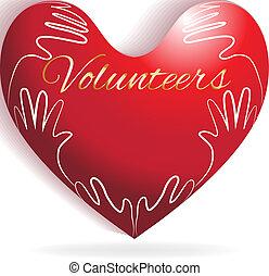 Love heart and children hands logo vector image