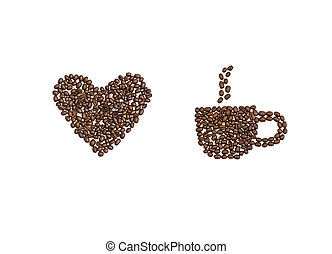 Love Heart and Coffee Cup in Coffee Beans