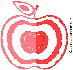 Love Heart Apple Shape