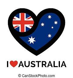 Love heart Australia flag icon