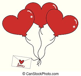 Love Heart Balloons and Letter