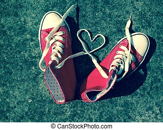 Love heart baseball boots sneakers laces
