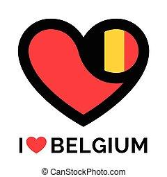Love heart Belgium flag icon