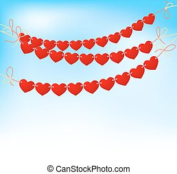 love heart bunting on blue sky background