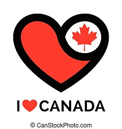 Love heart Canada flag icon