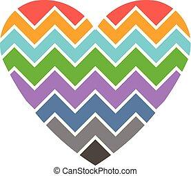 Love Heart Chevron style. logo illustration