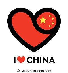Love heart China flag icon