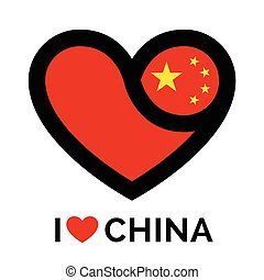 Love heart China flag icon