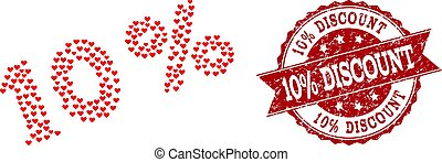 Love Heart Collage of 10 Percents Icon and Rubber Stamp