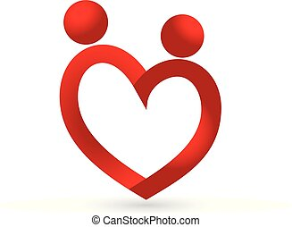 Love heart couple icon logo vector