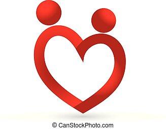 Love heart couple icon logo vector