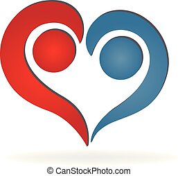 Love heart couple people icon logo