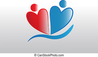 Love heart couple people logo
