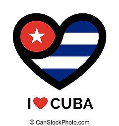 Love heart Cuba flag icon