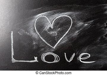 Love heart drawing on a school chalkboard