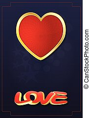 love heart  - illustration of red heart with love text
