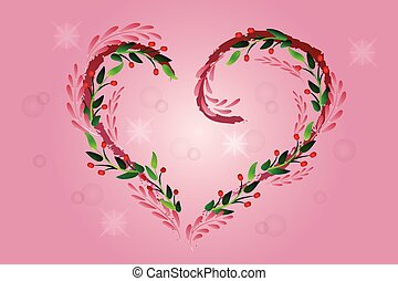 Love heart floral background