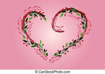 Love heart floral symbol logo vector
