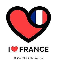 Love heart France flag icon