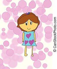 Love heart Girl Vector