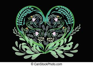 Love heart green floral logo vector
