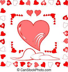 love heart greeting wedding card