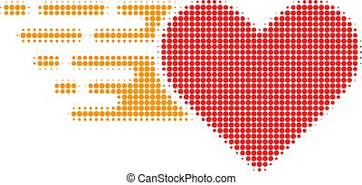 Love Heart Halftone Dotted Icon with Fast Rush Effect