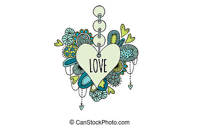 Love Heart Hand Drawn Doodle Color
