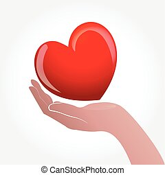 Love heart hand logo symbol