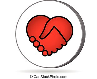Love heart handshaking logo