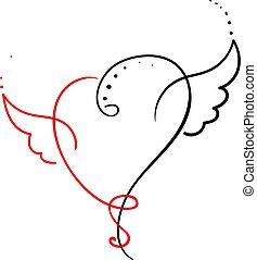 Love heart, illustration, vector on white background.