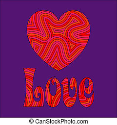 Heart shape and 'Love' with a groovy psychedelic pattern.