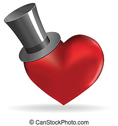 Love heart in hat valentine cute background. - Love heart in...