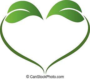 Love heart leafs logo