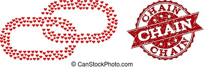Love Heart Mosaic of Chain Icon and Grunge Watermark