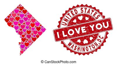 Love Heart Mosaic Washington DC Map with Textured Seal