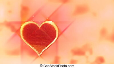 Love heart on red background