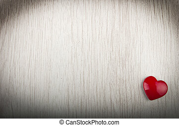 Love heart on wood texture background, valentines day card concept