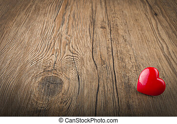 valentines day - Love heart on wood texture background, ...