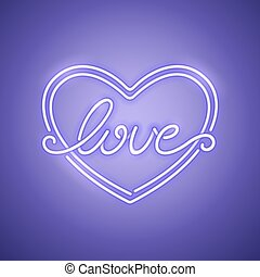 Love Heart Purple Neon Banner