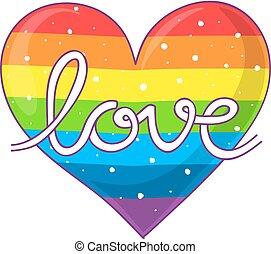 Rainbow heart of love. A white cross inside a rainbow ...